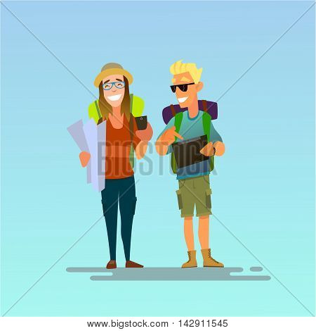 A couple of tourists. Girl looking for the road on the map and smiling guy already found a tablet on the road .Vector illustration of a flat design.