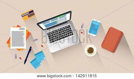 Workplace Desk Laptop Computer Cell Smart Phone Coffee Top Angle View Flat Vector Illustration