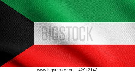 Flag of Kuwait waving in the wind with detailed fabric texture. Kuwait national flag.
