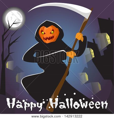Grim Reaper With Pumpkin Face Hold Scythe Happy Halloween Banner Greeting Card Flat Vector Illustration