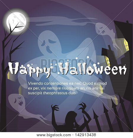 Happy Halloween Ghosts House Card Banner Flat Vector Illustration