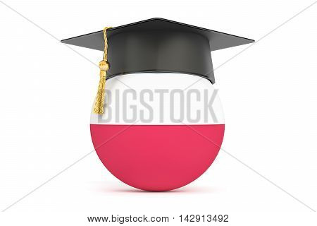 education and study in Poland concept 3D rendering isolated on white background