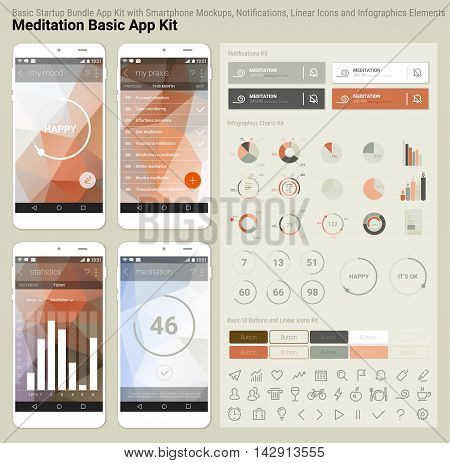 Flat design responsive Meditation UI mobile app template with trendy polygonal backgrounds, smartphone mockups, notificatons, infographics charts kit and linear ui icons collection