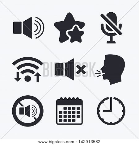 Player control icons. Sound, microphone and mute speaker signs. No sound symbol. Wifi internet, favorite stars, calendar and clock. Talking head. Vector