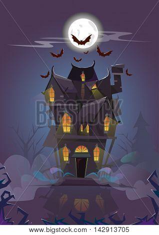 House Halloween Night Bats Flying Around Flat Vector Illustration