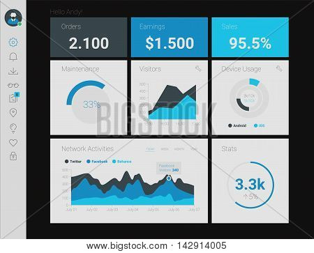 Futuristic flat design material style administration app dashboard