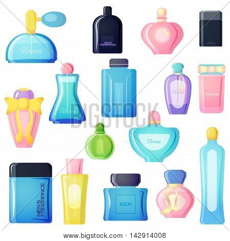 Set of vector perfume fashion container smell spray. Vector illustration perfume shop symbols elegant merchandise gift. Beauty liquid luxury fragrance aroma perfume bottle aromatherapy.