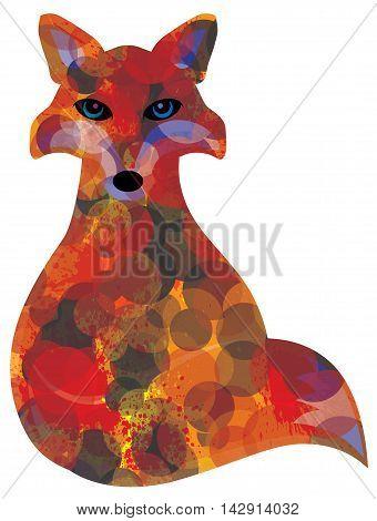 Fox Sitting Bokeh Paint Splatter Color Abstract Illustration