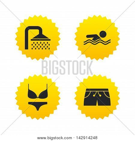 Swimming pool icons. Shower water drops and swimwear symbols. Human swims in sea waves sign. Trunks and women underwear. Yellow stars labels with flat icons. Vector