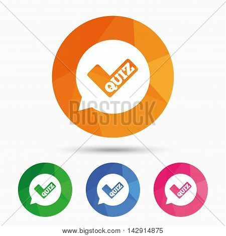 Quiz check in speech bubble sign icon. Questions and answers game symbol. Triangular low poly button with flat icon. Vector