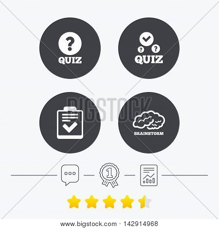 Quiz icons. Human brain think. Checklist with check mark symbol. Survey poll or questionnaire feedback form sign. Chat, award medal and report linear icons. Star vote ranking. Vector