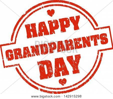 Happy Grandparents Day Red Grunge Style Rubber Stamp With Hearts