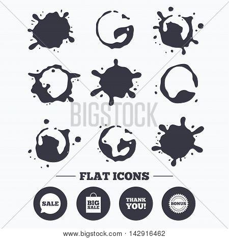 Paint, coffee or milk splash blots. Sale speech bubble icon. Thank you symbol. Bonus star circle sign. Big sale shopping bag. Smudges splashes drops. Vector