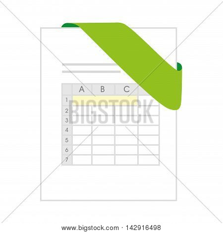 xls document file page business computer green  chart vector illustration isolated