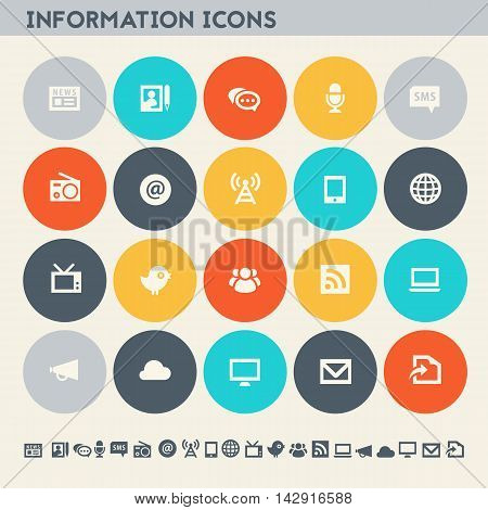 Modern flat design multicolored information icons collection
