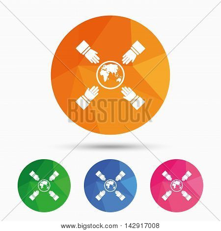 Hands reach for earth sign icon. Save planet symbol. Triangular low poly button with flat icon. Vector