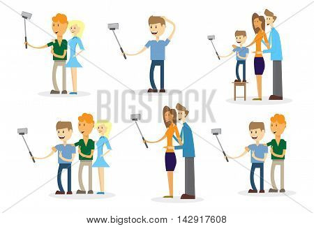 People Set Taking Selfie Photo On Smart Phone With Stick Vector Illustration