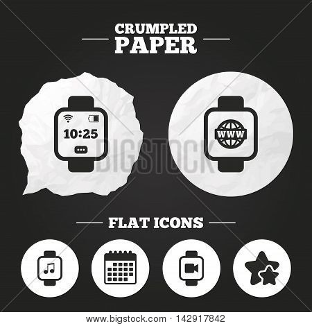 Crumpled paper speech bubble. Smart watch icons. Wrist digital time watch symbols. Music, Video, Globe internet and wi-fi signs. Paper button. Vector
