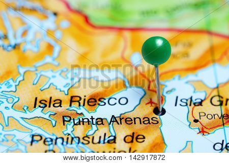 Punta Arenas pinned on a map of Chile
