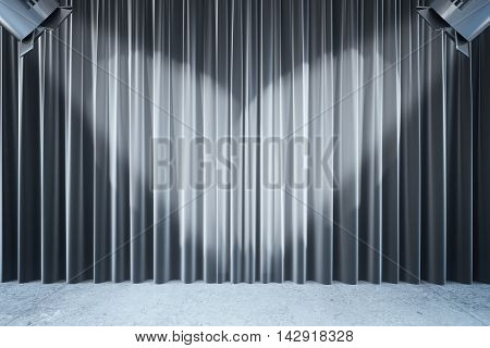 Front view of empty black curtains and wooden floor with two spotlights. Stage interior.Mock up 3D Rendering