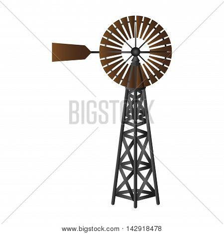 windmill air wind nature power ecology energy natural structure eco vector illustration isolated