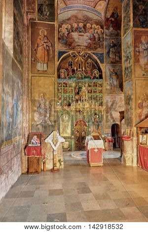 BAJINA BASTA, SERBIA - AUGUST 05, 2016: interior of the church dedicated to the Jesus Christ Ascension in Raca Serbian Orthodox Monastery