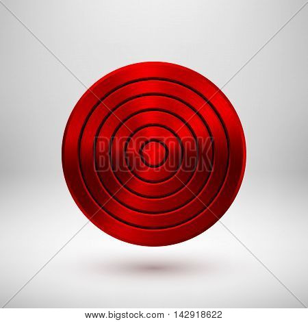 Red abstract circle geometric badge, technology perforated button template with metal texture, chrome, silver, steel, bronze and realistic shadow for logo, design, web, apps. Vector illustration.