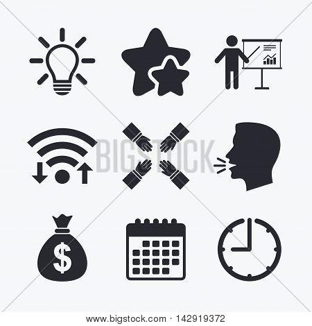 Presentation billboard icon. Dollar cash money and lamp idea signs. Man standing with pointer. Teamwork symbol. Wifi internet, favorite stars, calendar and clock. Talking head. Vector