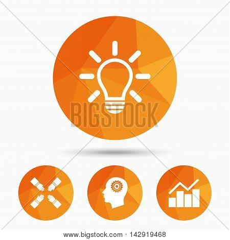 Lamp idea and head with gear icons. Graph chart diagram sign. Teamwork symbol. Triangular low poly buttons with shadow. Vector
