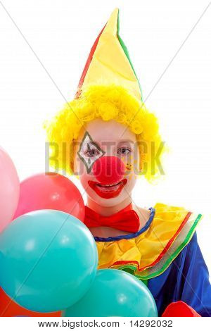 Child Dressed As Colorful Funny Clown