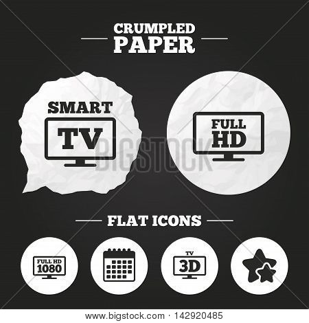 Crumpled paper speech bubble. Smart TV mode icon. Widescreen symbol. Full hd 1080p resolution. 3D Television sign. Paper button. Vector