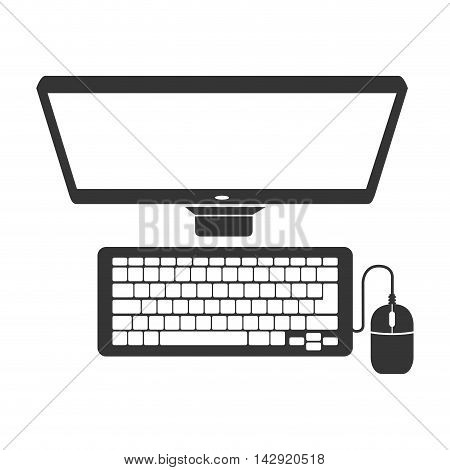 monitor pc computer screen device keyboard mouse technology computer vector  illustration isolated