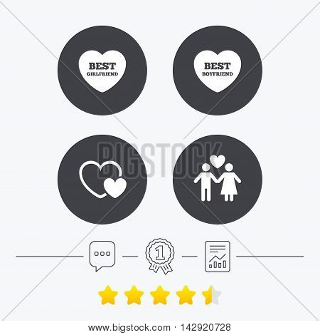 Valentine day love icons. Best girlfriend and boyfriend symbol. Couple lovers sign. Chat, award medal and report linear icons. Star vote ranking. Vector