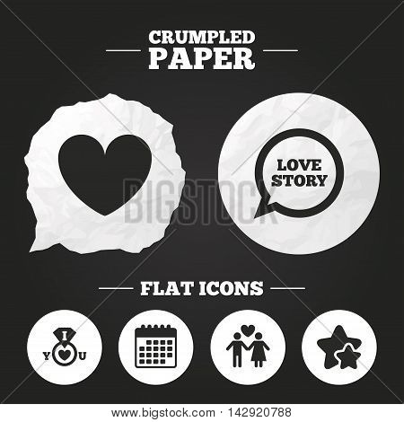 Crumpled paper speech bubble. Valentine day love icons. I love you ring symbol. Couple lovers sign. Love story speech bubble. Paper button. Vector