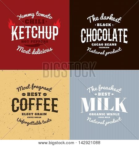 Isolated ketchup, chocolate, coffee, milk vector logo set. Natural products logotypes collection. Retro style emblems. Old school design stickers. Calligraphic elements. Modern font.