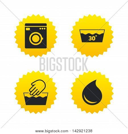 Hand wash icon. Machine washable at 30 degrees symbols. Laundry washhouse and water drop signs. Yellow stars labels with flat icons. Vector