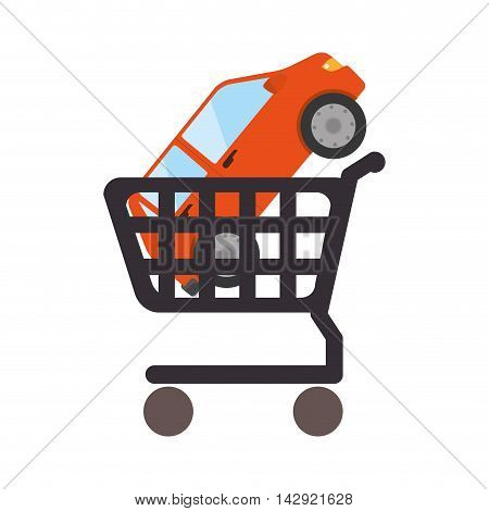 car cart shop vehicle auto commerce bussines market transport vector illustration isolated