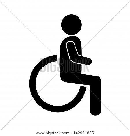 signal disability chair medical health wheelchair assistance vector illustration isolated silhouette