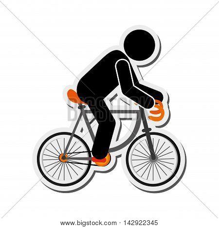 flat design person riding bike icon vector illustration