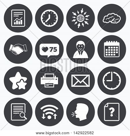 Calendar, wifi and clock symbols. Like counter, stars symbols. Office, documents and business icons. Deal, mail and businessman signs. Report, magnifier and brain symbols. Talking head, go to web symbols. Vector