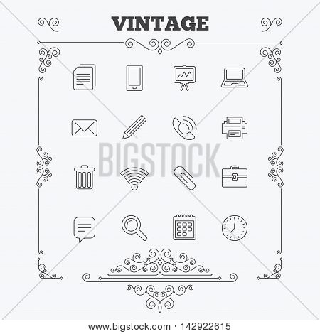 Office equipment icons. Computer, printer and smartphone. Wi-fi, chat speech bubble and copy documents. Presentation board, paperclip with pencil and magnifying glass. Vintage ornament patterns. Decoration design elements. Vector