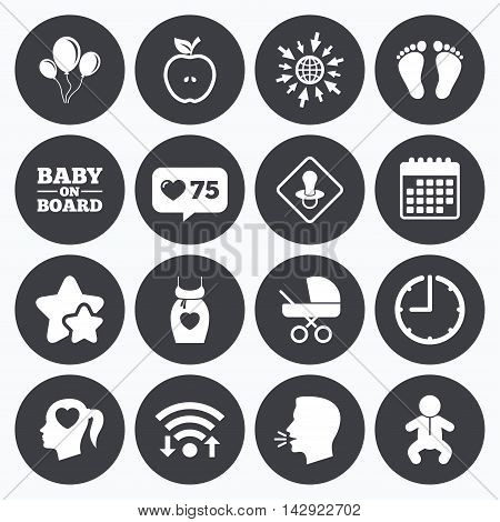Calendar, wifi and clock symbols. Like counter, stars symbols. Pregnancy, maternity and baby care icons. Air balloon, baby carriage and pacifier signs. Footprint, apple and newborn symbols. Talking head, go to web symbols. Vector