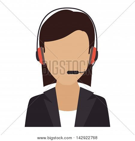 headset person call operator reception assistant support communication service vector isolated  illustration
