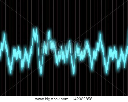 Blue waveform on the oscilloscope screen