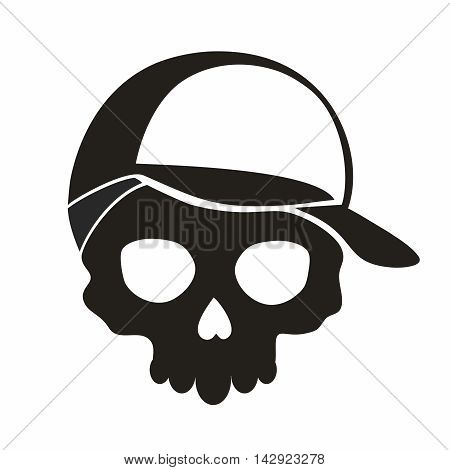 Vector Monochrome Hollow Skull Wearing Baseball Cap, isolated on white background
