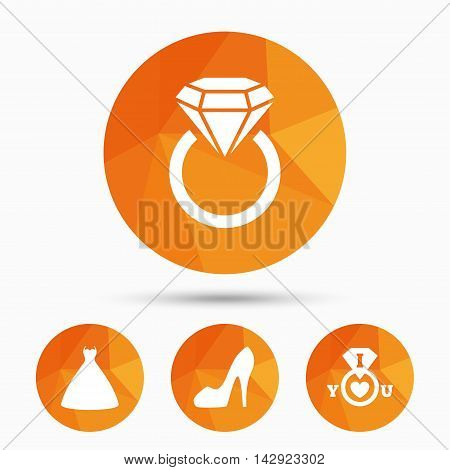 Wedding dress icon. Women's shoe symbol. Wedding or engagement day ring with diamond sign. Triangular low poly buttons with shadow. Vector