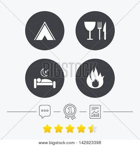 Food, sleep, camping tent and fire icons. Knife, fork and wineglass. Hotel or bed and breakfast. Road signs. Chat, award medal and report linear icons. Star vote ranking. Vector
