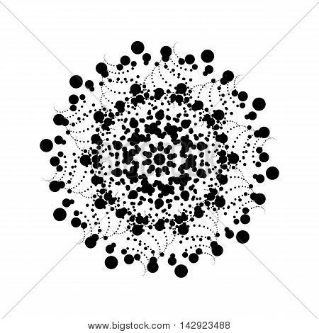 Black abstract fractal, spiral, rotation, repeat reflection shape with white background for logo, design concepts, posters, banners, presentations, web and prints. Vector illustration.