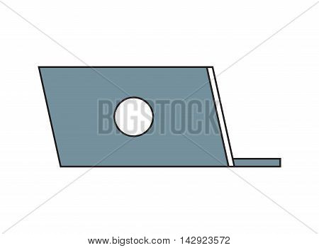 flat design laptop rearview icon vector illustration