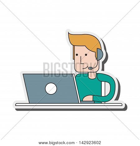 flat design person with headset icon vector illustration